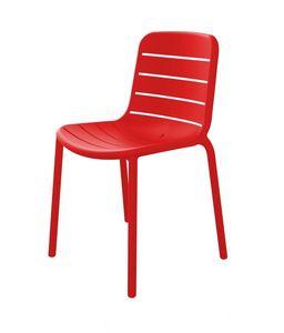 Guenda - S, Chaise en plastique rouge adaptée pour l'extérieur
