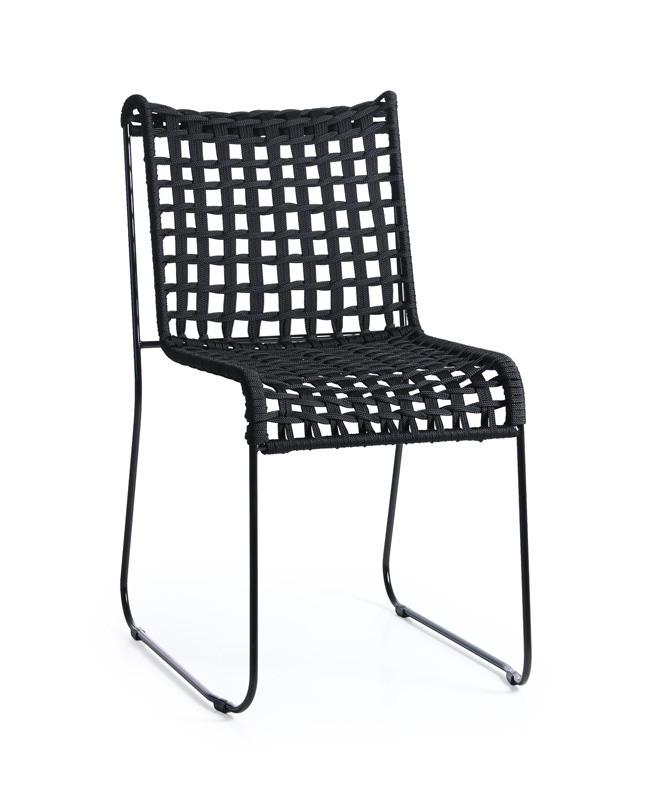 In/Out, Chaise en métal, assise en corde tissée, pour intérieur et extérieur