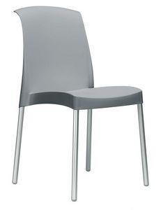 Jenny, Chaise empilable sans accoudoirs pour mobilier d'extérieur