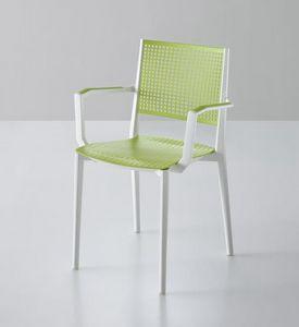 Kalipa B, Chaise empilable avec accoudoirs, pour jardins