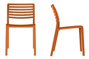 Lama - S, Chaise en plastique avec dossier à lattes horizontales