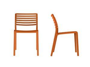 Lama - S, Chaise en plastique avec dossier � lattes horizontales