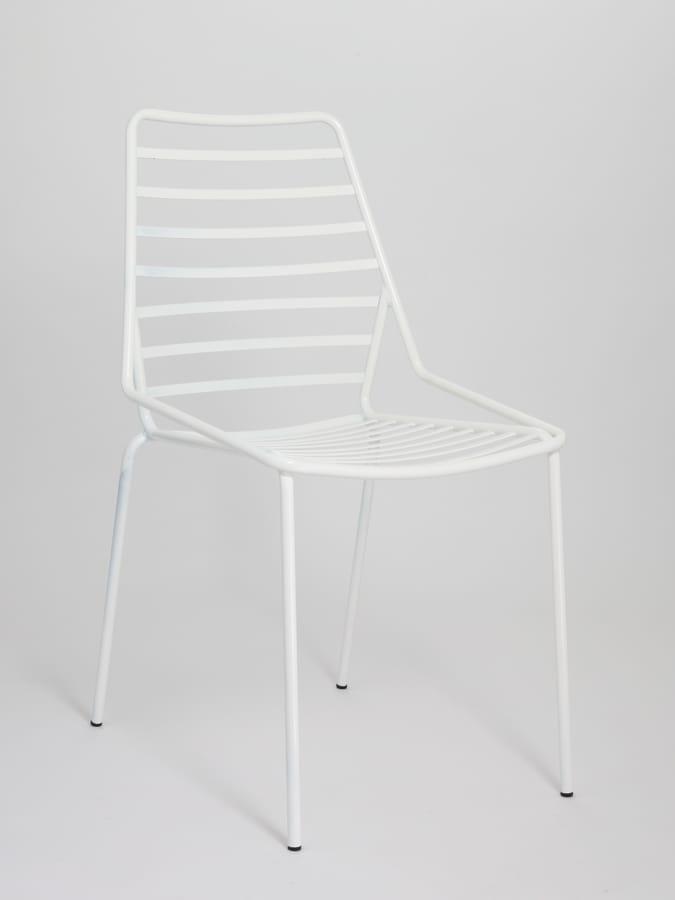 Link, Chaise en métal empilable avec des lignes horizontales dessin