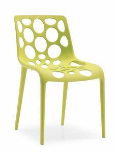 Lotus, Chaise en polypropylène avec coque avec trous circulaires