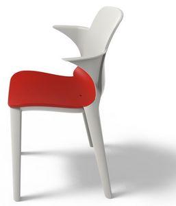 Lyssa - P, Chaise en plastique avec accoudoirs, résistant aux UV