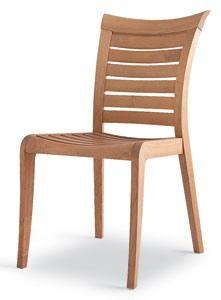 Mirage chaise, Chaise en bois avec lattes horizontales, pour l'extérieur