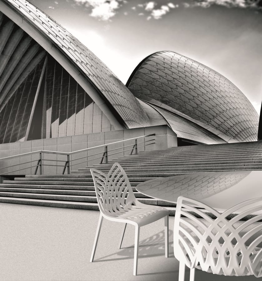 Opera, Chaise de couleur dans le polymère, pour une utilisation intérieure et extérieure