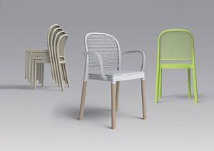 Panama, Chaise empilable avec corps en métal moulé dans du plastique