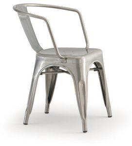 PL 500 / EST, Chaise empilable avec accoudoirs, en métal peint