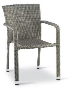 PL 730, Chaise avec accoudoirs en aluminium tissé, pour l'extérieur