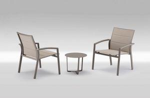 PL 740, Chaise avec accoudoirs avec grand siège, assise en textilène