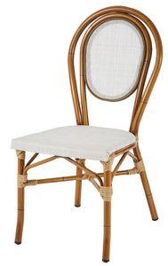 SE 411, Chaise empilable en aluminium et textilène, dans style de bambou