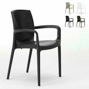 Sedia impilabile con braccioli esterno rattan – S6618, Chaise en résine de haute qualité, empilable, pour extérieur