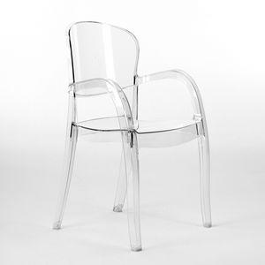 Sedia trasparente cucina bar Joker – S6612TR, Chaise avec accoudoirs, en polycarbonate transparent