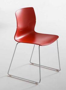 Slot S, Chaise design avec luge en métal chromé