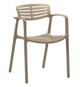 Teresa, Chaise avec accoudoirs en polypropylène pour usage intérieur et extérieur