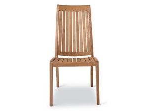 Wave chaise, Chaise en bois résistant, dossier avec lamelles verticales