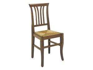 107, Chaise rustique avec des traîneaux verticaux, siège de la paille