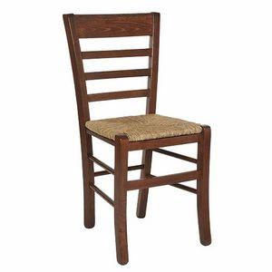 115, Chaise rustique à dossier horizontal en lattes