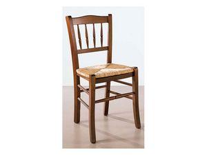 122, Chaise en bois et de la paille, travaillé en arrière, pour les bars