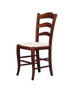 208, Chaise avec assise rembourrée, fait dans un style rustique