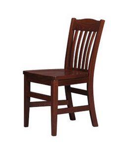 218, Peinte chaise rustique, dossier en lattes verticales