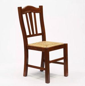 Chaise en bois avec assise en paille pour salon et salle à manger Silvana Paglia SS015PAG, Pauvre chaise d'art, siège de paille