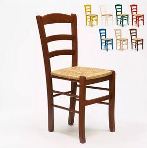 Chaise en bois et assise en paille pour salle à manger bar et restaurant Paesana SP001, Chaise rustique, assise en paille