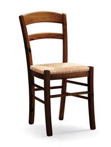 Dana, Chaise rustique dans le cadre de pins, siège de paille tressée
