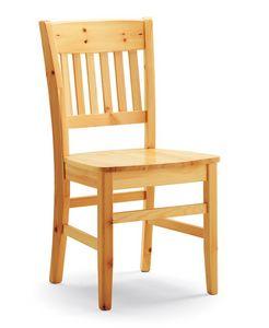 Dora, Chaise rustique entièrement en pin, pour un usage privé et contraction