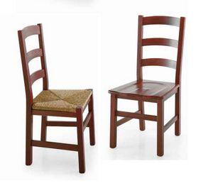 Fiesole, Chaise rustique à décor horizontal dossier