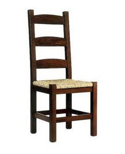 Friulana, Chaise rustique avec structure en bois et fond en paille