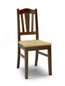 Iris A, Chaise rustique avec assise en paille et dossier à lattes