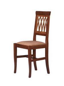 R01, Chaise rustique en bois de hêtre, assise rembourrée