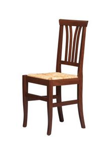 R04, Chaise rustique en bois de hêtre, assise paille