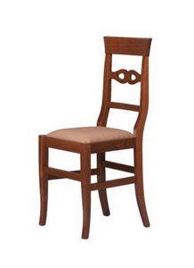 R09, Chaise rustique en bois de hêtre, assise rembourrée