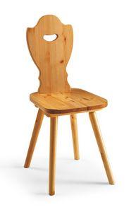 S/102 chaise Bavière, Chaise rustique en pin massif, pour chalet de montagne