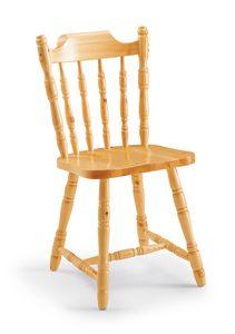 S/103 Colonial Chair, Chaise rustique en pin massif, pour auberges de montagne