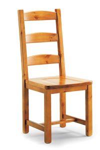 S/147 L Silvia chaise, Chaise rustique à lattes horizontales, en pin massif
