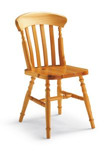 S/150 York chaise, Chaise à lattes verticales, en pin, en style rustique