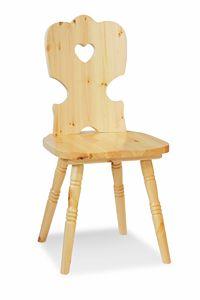 S/152 Iris chaise, Chaise rustique en pin, avec trou sur le dossier