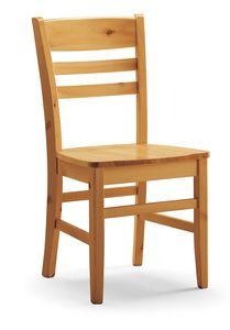 S/154 Sedia Annamaria, Chaise en pin, avec lamelles horizontales, rustique