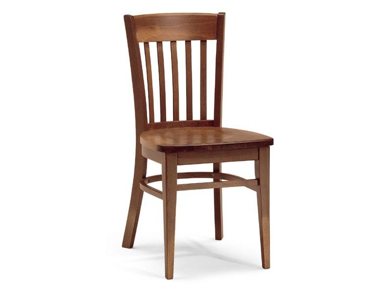 Zurigo, Chaise entièrement en bois avec dossier rectangulaire