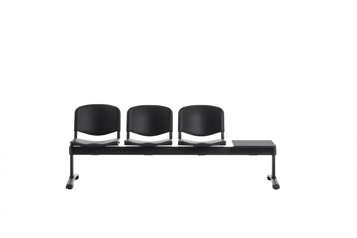 Leo Plastic Bench, Bancs d'attente avec assises et dossiers en polypropylène