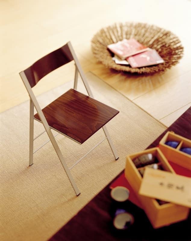 Pocket wood, Chaise pliante, avec structure en métal, pour la cuisine