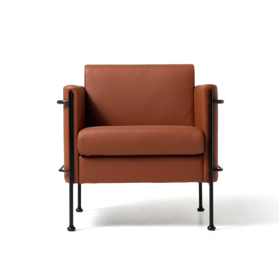 Jazz 1p, Chaise rembourrée, cadre en acier visible, pour le salon