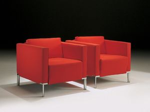 Nella, Fauteuil avec pieds en acier, recouvert de fibres acryliques