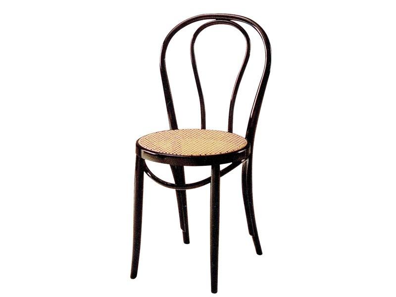 01/PAT, Chaise en bois avec siège en canne, pour les bars et pubs