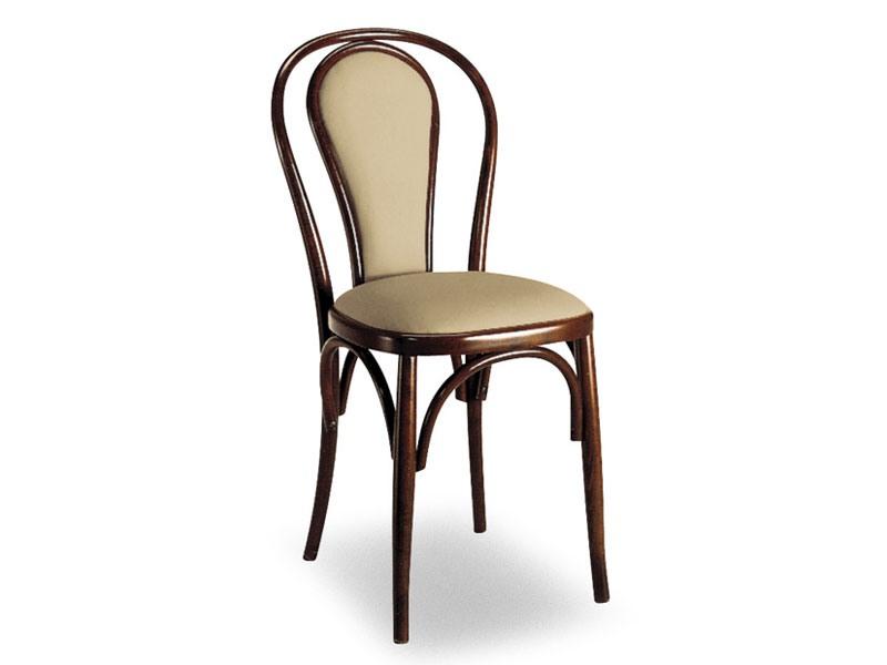 108, Chaise en bois avec dossier rembourré ovale