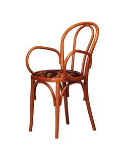 109, Chaise en bois cintré avec accoudoirs, pour les salons de crème glacée
